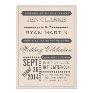 Typography Wedding Invitations | Vintage Beige