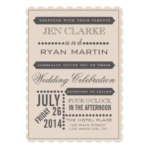 Modern Script Beige & Grey Wedding Invitation