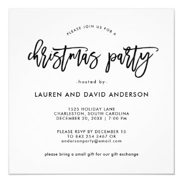 Professional Business Modern Script   Black and White Christmas Party Card