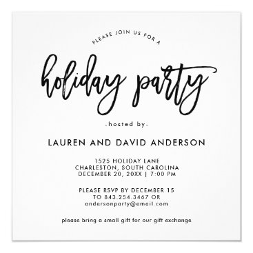 Professional Business Modern Script   Black and White Holiday Party Card