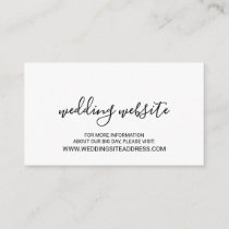 Modern Script Black and White Wedding Website Enclosure Card