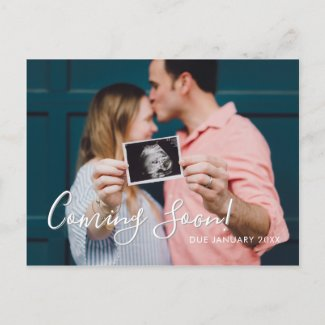 Modern Script Coming  Soon Pregnancy Announcement Postcard