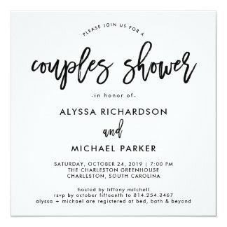 Modern Script   Couples Shower Invitation