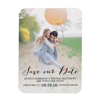 Modern Script | Custom Photo Save Our Date Magnet