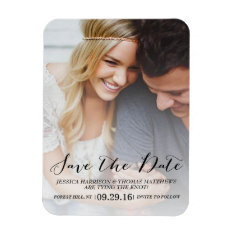 Modern Script | Custom Photo Save The Date Magnet at Zazzle