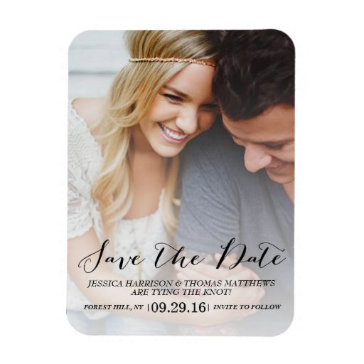 Modern Script Custom Photo Save The Date Magnet