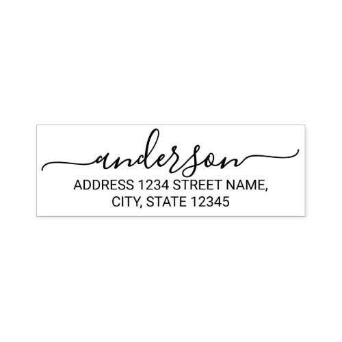 Modern Script Family Name Return Address Self_inking Stamp