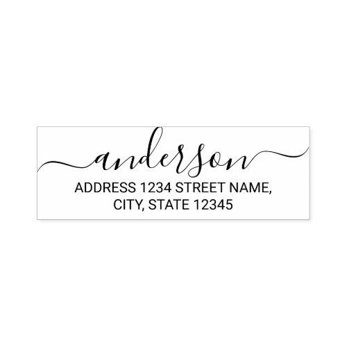 Modern Script Family Name Return Address Self_inking Stamp
