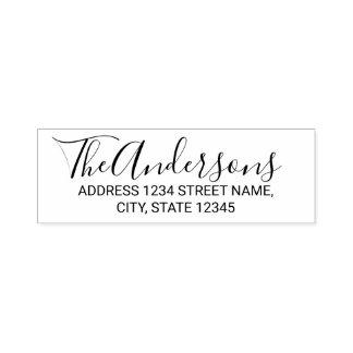 Modern Script Family Name Return Address Self-inking Stamp