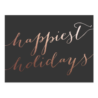 Modern Script Faux Foil Rose Gold | Holiday Postcard