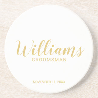 Modern Script Gold Personalized Groomsmen Coaster