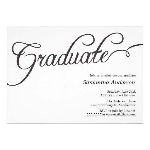 Modern Script Graduation Invitation - Black