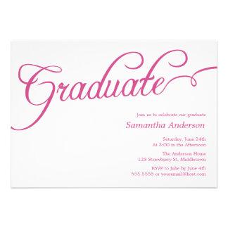 Modern Script Graduation Invitation - Pink