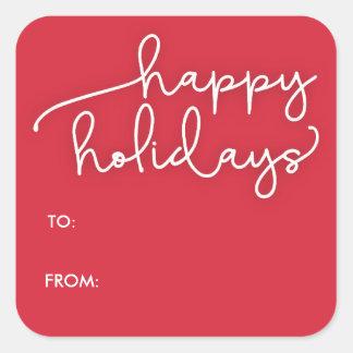 Modern Script Happy Holidays Gift Tag Sticker