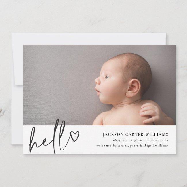 Modern Script Hello Photo Birth Announcement