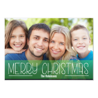 MODERN SCRIPT HOLIDAY PHOTO  MERRY CHRISTMAS GREEN CARD