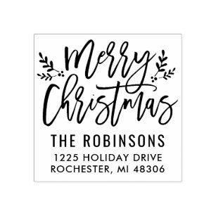 Gift Wrap Stamp Merry Christmas From Stamp Hand Lettered Holiday Stamp Christmas Stamp Rubber Stamp SXMAS501 Christmas Gift Tag Stamp