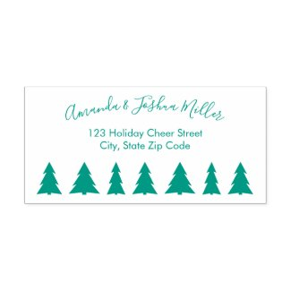 Modern Script Name Trees Holiday Return Address Self-inking Stamp