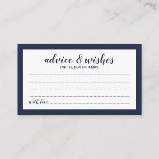 Modern Script Navy Blue Wedding Advice and Wishes