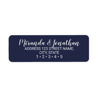 Modern Script Navy Blue Wedding Label