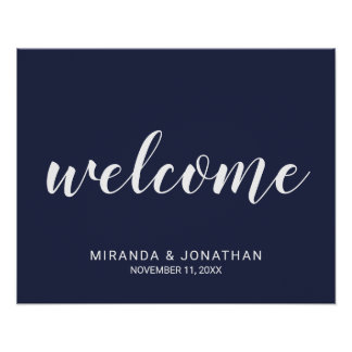 Modern Script Navy Blue Wedding Welcome Sign