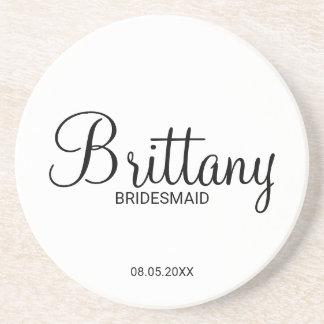Modern Script Personalized Bridesmaids Coaster