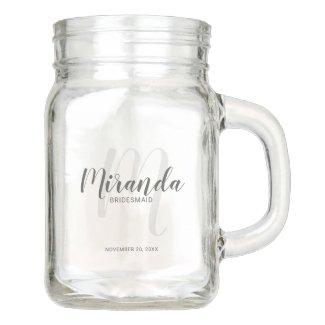 Modern Script Personalized Bridesmaids Mason Jar