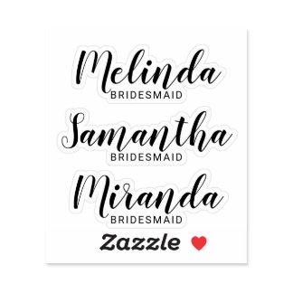 Modern Script Personalized Bridesmaid's Name Sticker