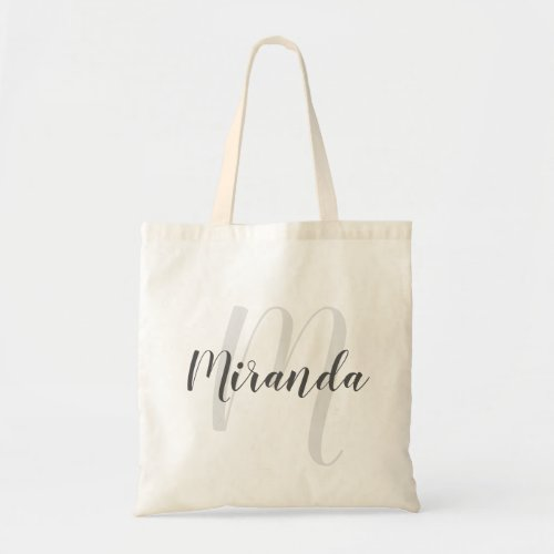 Modern Script Personalized Monogram and Name Tote Bag
