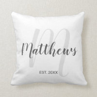 Modern Script Personalized Monogram & Family Name Throw Pillow