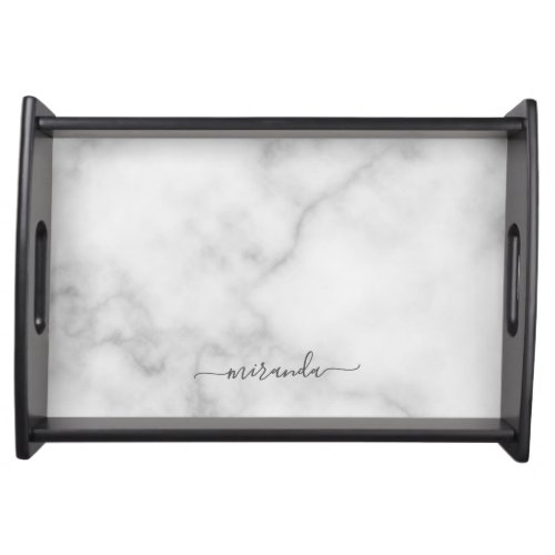 Modern Script Personalized Name White Marble Serving Tray