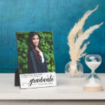 """Modern Script Photo Graduation Plaque<br><div class=""""desc"""">Show off your graduation photo with these trendy graduation plaque! This modern stylish graduation plague features beautiful script text spelling out the word graduation with a text template to personalize with the name,  school and graduating year. Add additional message or click '' customize further''to edit this template.</div>"""