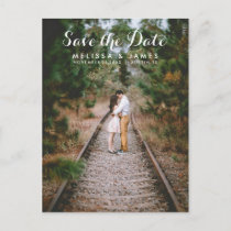 Modern Script Photo Wedding Save The Date Announcement Postcard