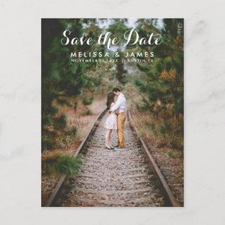 Modern Script Photo Wedding Save The Date Announcement Postcard