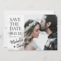 Modern Script Photo Wedding Save the Date Invite