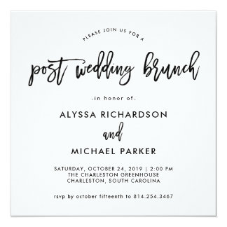 Modern Script Post Wedding Brunch Invitation