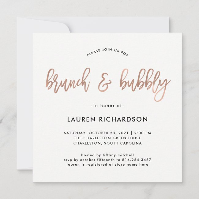 Modern Script   Rose Gold Brunch and Bubbly Invitation