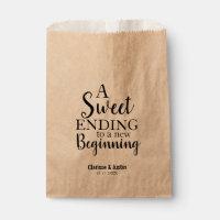 Modern Script Sweet Ending New Beginning Wedding Favor Bag
