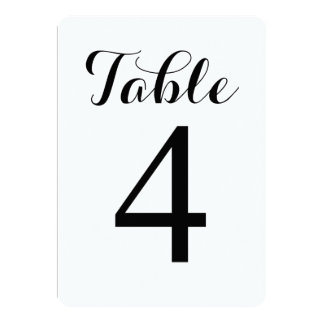 Modern Script Table 4 | Table Numbers Card Personalized Announcements