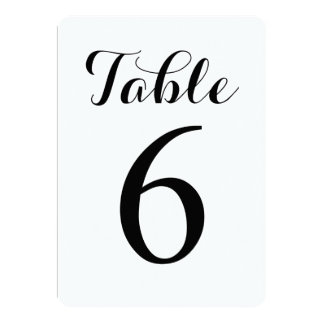 Modern Script Table 6   Table Numbers Card