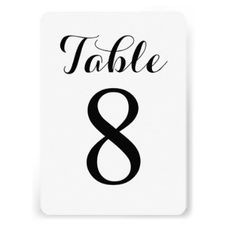Modern Script Table 8 Table Numbers Card