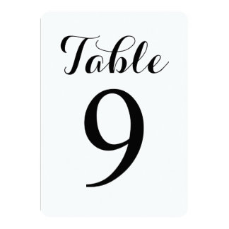 Modern Script Table 9 | Table Numbers Card
