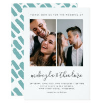 Modern Script Two Photo Wedding Invitation
