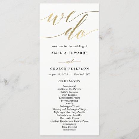 Modern Script Wedding Ceremony Program Faux Gold
