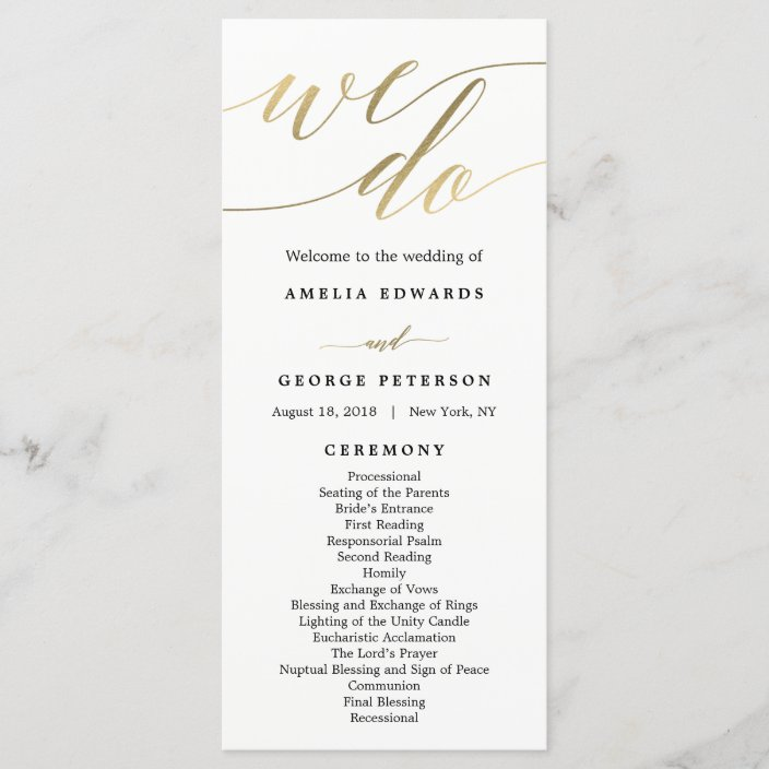 Modern Script Wedding Ceremony Program Faux Gold Zazzle Com