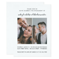 Modern Script Wedding Engagement Photo Invitation