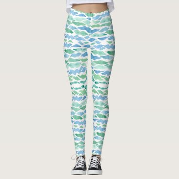 Beach Themed Modern Sea Glass Beach Wave Pattern Watercolor Art Leggings