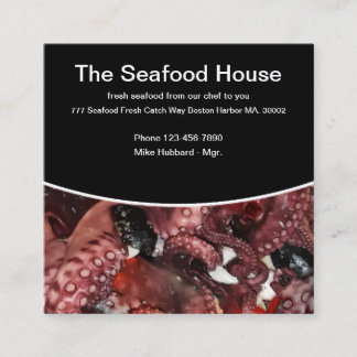 Modern Seafood Theme Square Business Card