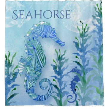 Beach Themed Modern Seahorse Geometric Pattern Beach Sea Ocean Shower Curtain