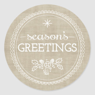 Modern Season's Greetings Burlap Christmas Sticker